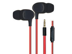 Dtaitech stereo earphones for iPhone Samsung Android smart phone with microphone 1.3M Flat cable 3.5mm universal plug remote control earbud DT-PM211P-RE (Red)