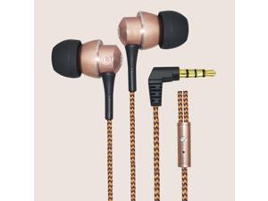 Dtaitech metal stereo earphones for iPhone Samsung Android smart phone with microphone 1.3M Braided cable 3.5mm universal plug remote control earbud DT-M100-RG