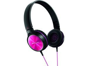 Pioneer New Digital SE-MJ522-P Fully Enclosed Dynamic Headphone, Black & Pink