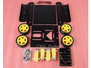 4WD Drive Aluminum Mobile Robot Car Chassis Platform for Arduino - Black