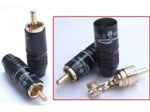10PCS Gilded RCA Male plug Audio Video for TV AV Speaker Cable Power amplifier