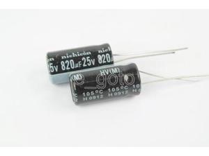 10PCS 820uF 25V Radial Electrolytic Capacitor 10mmx20mm