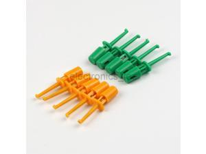 5pairs Plastic Multimeter Test Hook Clip Probes Orangle Green for PCB IC
