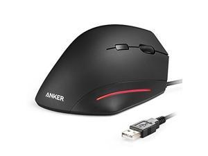 Anker Ergonomic USB Wired Vertical Mouse with Adjustable DPI Levels 1000 / 1600 and Side Controls - Black