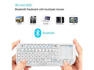 Rii ® K02+ 4 In 1 Multifunction Portable Mini Wireless Bluetooth Version Keyboard with Touchpad Mouse ,Laser Pointer And Backlit LED , KODI XMBC Rechargable Keyboard