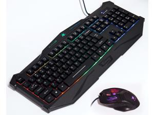 K-RAY KM8300 Gaming Keyboard with 3 Colors Adjustable Backlight USB Wired Illuminated Computer Breathing Keyboard With Mouse, Keyboard Mouse Combos