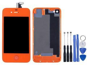 Replacement Full Set LCD Touch Screen Display Digitizer Assembly With Home Button + Back Cover Housing + 8 Pcs Phone Repairing Tools Kit Compatible For iPhone 4S - Orange