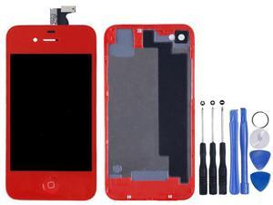 Replacement Full Set LCD Touch Screen Display Digitizer Assembly With Home Button + Back Cover Housing + 8 Pcs Phone Repairing Tools Kit Compatible For iPhone 4S - Red