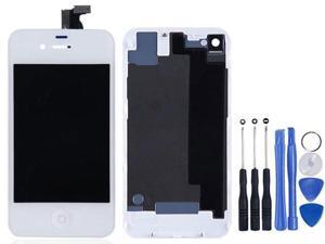 Replacement Full Set LCD Touch Screen Display Digitizer Assembly With Home Button + Back Cover Housing + 8 Pcs Phone Repairing Tools Kit Compatible For iPhone 4S - White