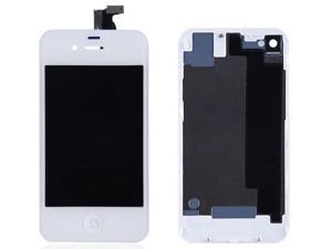 LCD Display With Compatible Touch Screen Digitizer Assembly Replacement & Back Cover & Home Button For iPhone 4S - White