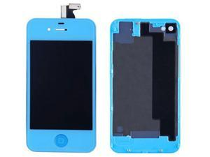 LCD Display With Compatible Touch Screen Digitizer Assembly Replacement & Back Cover & Home Button For iPhone 4S - Light Blue