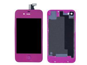 LCD Display With Compatible Touch Screen Digitizer Assembly Replacement & Back Cover & Home Button For iPhone 4S - Purple