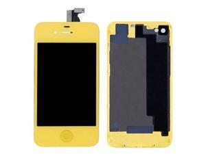 LCD Display With Compatible Touch Screen Digitizer Assembly Replacement & Back Cover & Home Button For iPhone 4S - Yellow