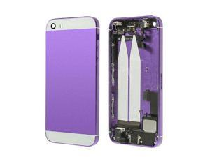 Preassembled Mid Middle Frame Bezel Complete Back Cover Full Metal Housing Assembly Battery Door Rear Case Replacement Spare Parts For iphone 5s (Purple/White Glass)