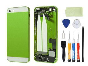 Preassembled Metal Back Cover Housing Battery Door Assembly Middle Frame Bezel Full Assembled with Small Parts Installed Free Tools For iphone 5s (Green/White Glass)