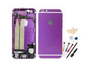 Replacement Back Battery Cover Middle Frame Metal Back Cover Housing with Pre-assembled Small Parts for iPhone 6 Plus 5.5inch with Professional Tools - Purple + White Regula