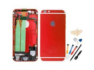 Replacement Back Battery Cover Middle Frame Metal Back Cover Housing with Pre-assembled Small Parts for iPhone 6 4.7inch with Professional Tools - Red + White Regula