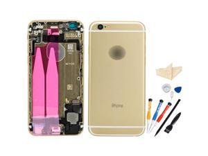 Replacement Back Battery Cover Middle Frame Metal Back Cover Housing with Pre-assembled Small Parts for iPhone 6 4.7inch with Professional Tools - Champagne Gold + White Regula