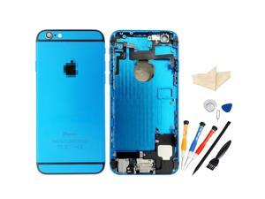 Replacement Back Battery Cover Middle Frame Metal Back Cover Housing with Pre-assembled Small Parts for iPhone 6 Plus 5.5inch with Professional Tools - Light Blue + Black Regula