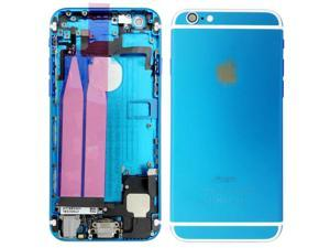 Replacement Back Battery Cover Middle Frame Metal Back Cover Housing with Pre-assembled Small Parts for iPhone 6 4.7inch - Light Blue + White Regula