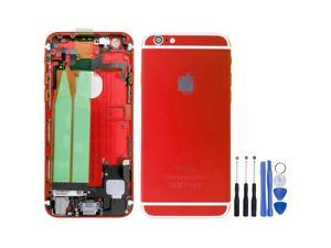 Replacement Back Battery Cover Middle Frame Metal Back Cover Housing with Pre-assembled Small Parts for iPhone 6 4.7inch FREE tools - Red + White Regula