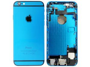 Replacement Back Battery Cover Middle Frame Metal Back Cover Housing with Pre-assembled Small Parts for iPhone 6 Plus 5.5inch - Light Blue + Black Regula