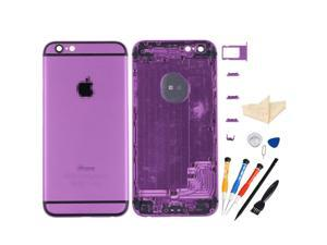 Back Battery Cover Middle Frame Metal Back Cover Housing for iPhone 6 4.7 inch with Professional Tools - Purple + Black Regula