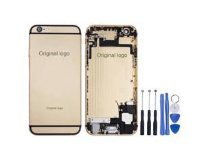 Replacement Back Battery Cover Middle Frame Metal Back Cover Housing with Pre-assembled Small Parts for iPhone 6 4.7inch FREE tools - Champagne Gold + Black Regula