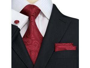 """Landisun Paisleys Mens Silk Tie Set: Tie+Hanky+Cufflinks 104 True Red, 59"""" x 3.25"""""""