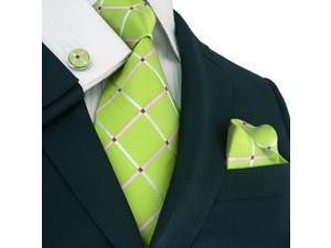 "Landisun 177 Plaids & Checks Mens Silk Tie Set: Tie+Hanky+Cufflinks Green Pink, 59"" x 3.25"""