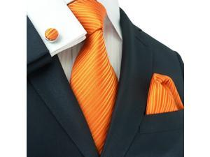 "Landisun Solids Mens Silk Tie Set: Tie+Hanky+Cufflinks 26C Bright Orange, 59"" x 3.25"""