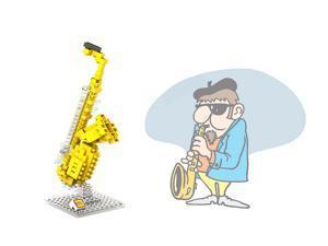 LOZ 9190 120Pcs Building Blocks DIY Brick Toys - Saxophone
