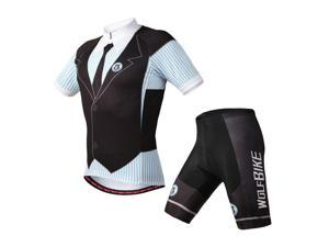 Mens Breathable Cycling Jersey Short Sleeve Jacket 3D Padded Shorts Set Outfit