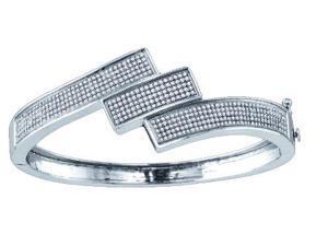 1.32ctw Round Diamond Micro-Pave Bangle Bracelet