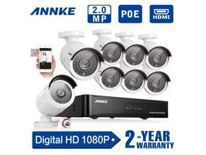 [Full HD 1920x1080P] Annke 8CH 1080P PoE NVR w/ 8 Indoor/ Outdoor Weatherproof 100ft Night Vision HD Security Camera System (Scan QR Code Quick Remote Access, 2.0 Mega-pixels, True PoE Technology)