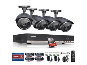 ANNKE 8CH 1080N DVR 1080P NVR Hybrid Recorder+ 4 x HD 1280x720 Outdoor Security Bullet Cameras (1TB HDD)