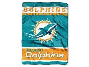 """Miami Dolphins 60""""x80"""" Royal Plush Raschel Throw Blanket - 12th Man Design"""