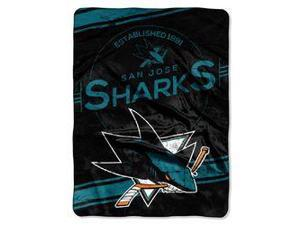 "San Jose Sharks 60""x80"" Royal Plush Raschel Throw Blanket - Stamp Design"