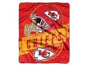 "Kansas City Chiefs 50""x60"" Royal Plush Raschel Throw Blanket - Grandstand Design"