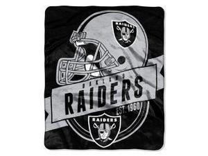 "Oakland Raiders 50""x60"" Royal Plush Raschel Throw Blanket - Grandstand Design"