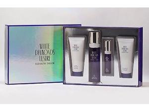 Genuine WHITE DIAMONDS LUSTRE 4 Piece Gift Set by ELIZABETH TAYLOR for Ladies including 3.3 Oz Eau De Toilette (EDT) Spray