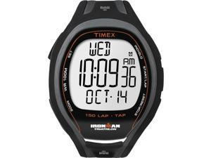 Timex Digital Men's Ironman Sleek 150-Lap Recall Black Case & Strap Watch T5K253