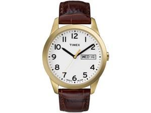 Timex Men's Elevated Classic   Gold-Tone Case Leather Strap   Dress Watch T2N065