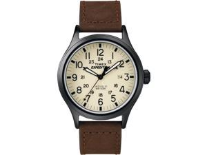 Timex Men's   Black Case Brown Leather Band Indiglo   Field Metal Watch T49963