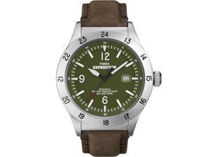 Timex Men's Expedition | Silver-Tone Case Brown Leather Band Green Dial | T49881