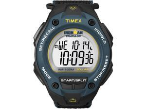 Timex T5K413 Men's Ironman 30-Lap Oversize Black Case Blue Bezel Sports Watch