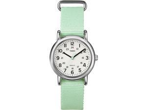Timex Women's Weekender | Chrome Case & Mint Slip-Through Strap Watch T2P073