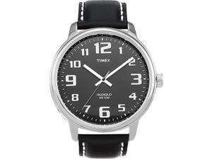 Timex Unisex | Silver-Tone Case & Black Leather Band | Easy Reader Watch T28071