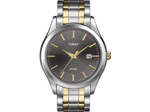 Timex Men's Elevated Classics | Two-Tone Band Black Dial Date Dress Watch T2N799