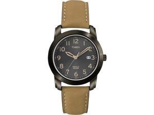 Timex Men's Elevated Classics | Black Case Tan Leather Dial Date | Watch T2P133
